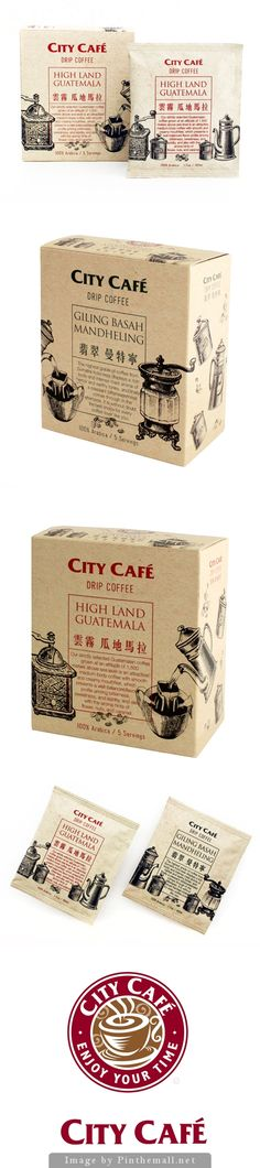 City Cafe assortment in illustrated #packaging PD - created via http://www.packagingoftheworld.com/2014/04/city-cafe-drip-coffee-7-11.html