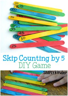 I can use this activity to specifically help students practice skip counting. I can use this as an in-class activity or suggestion for families to make/use at home. Skip Counting by 5 DIY Game. Fun math game for kindergarten! Kindergarten Math Games, Fun Math Games, Diy Games, Math Classroom, Teaching Math, Maths Games Ks1, Numicon Activities, Maths Fun, Space Activities
