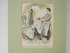 Karikatur °Friseur°  um 1930 Herren von Sammel-Leidenschaft auf DaWanda.com