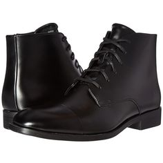 Calvin Klein Darsey (Black Box Leather) Men's Boots ($98) ❤ liked on Polyvore featuring men's fashion, men's shoes, men, mens black cap toe shoes, mens lace up shoes, mens leather lace up shoes, mens black shoes and mens shoes