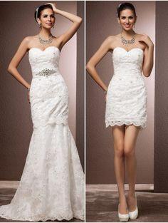 Este vestido para novia es súper práctico, se sepuede retirar la parte superior! Encuéntralo aquí.