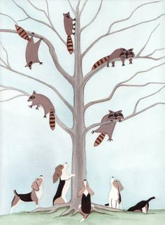 Beagles have tree full of raccoons cornered / by watercolorqueen, $12.99