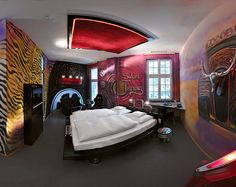 Hotel design, Bedroom Interior Design Themed Car For Men With Car Accessories Decoration: hotel in germany with unique design from cars material Bedroom Themes, Bedroom Colors, Bedroom Ideas, Themed Hotel Rooms, Home Bedroom Design, Bedroom Designs, Unique Hotels, Awesome Bedrooms, Beautiful Interiors