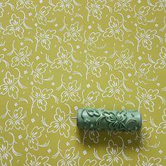 Soft pattern roller no. 1621 - fine leaf ... Musterwalze / Strukturwalze mit zartes Blättermuster  - Handmade in Germany by