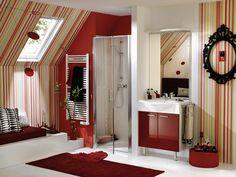 bathroom design idea - Home and Garden Design Idea's bathtub and boho rugs bathroom tile! Luxury Bathroom Interior Design from Delpha Bathro. Bedroom Red, Bathroom Interior Design, Modern Bathroom Design, Bathroom Red, Stylish Bathroom, Red Bathroom Decor, Modern Interior Design, Bathroom Decor Sets, Red Interior Design