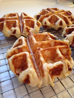 Liege Waffles - Best recipe is on the back of the box of Lars Pearl Sugar. They turned out perfectly glazed and easy to warm up in the microwave for about seconds. Waffle Shop, Pearl Sugar, 10 Seconds, Sweet Recipes, Waffles, Microwave, Good Food, Favorite Recipes, Warm