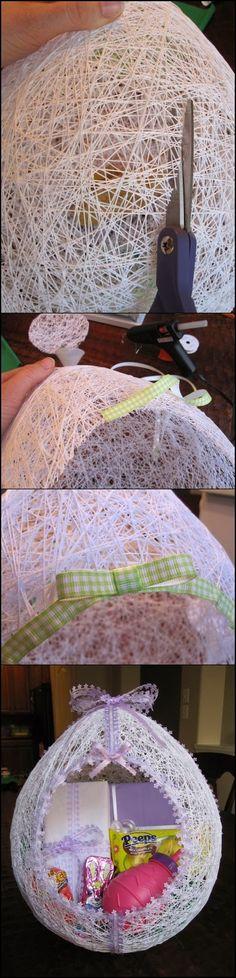 Make an Egg Shaped Easter Basket From String