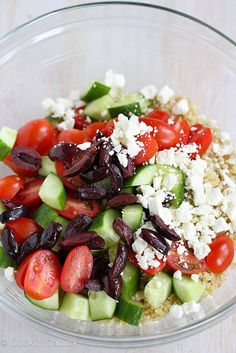 Quinoa Greek Salad with Tomato, Cucumber & Feta Cheese | cookincanuck.com #salad #quinoa by CookinCanuck