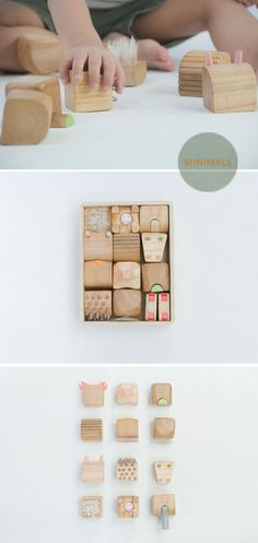 Minimals  is a family of animals reduced to their most identifiable characteristics captured in a 5 x 5 x 5 cm wooden cubes, design toys, tactile toys.