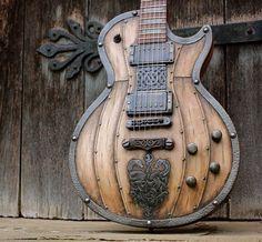 Viking theme Les Paul, knotwork, Seymour Duncan pickups, Hutchinson Guitars