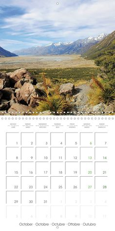 "Reisekalender mit Planer ""New Zealand – Variety of the South Island"", Kalenderblatt Oktober: Tasman Valley"