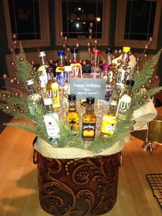 Man bouquet of mini liquor bottles