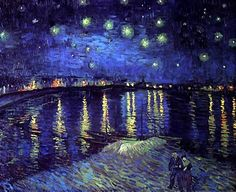 van gogh. the starry night.  the texture in the sky and the water...and the use of yellow & midnight blue...
