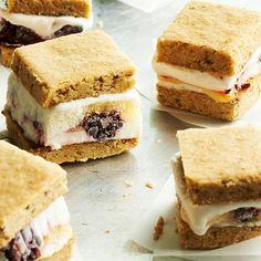 Blackberry Lemon Ice Cream Sandwiches with Pistachio Shortbread