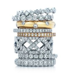 Promise ring idea?  Great for different memoriable events, collect them over the years and wear stacked together, or with engagement ring- Tiffany & Co. Stackable Celebration Rings 2012...could stack these forever, in all different ways, never out of