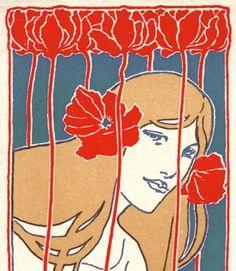 Detail of the art nouveau bookmark from the German publishing house E. Pierson's Verlag, Stuttgart, dated 1898. Illustration by Hans Pfaff.