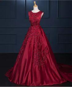 Burgundy Satin Evening Dress 2018 Long Train Appliques Beading V Back  Arabic Evening Gowns Formal Party Dress vestidos de fiesta 1ab206a70cae