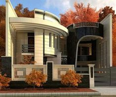 The exterior is the face of the house that everyone will see in the first part. Take a look at the world's most beautiful modern homes and find Front Wall Design, Exterior Wall Design, Facade Design, House Main Gates Design, Bungalow House Design, Modern House Design, Model House Plan, House Plans, Modern House Facades