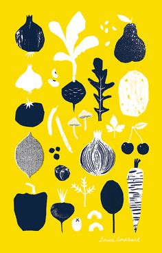 Fruit & Veg Tea Towel - Louise Lockhart, The Printed Peanut, design, printmaking, design, mark making, illustration, pattern, food, vegetables, garden, allotment