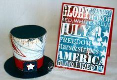 4th of July Invite and Party Favor - Template from Creations by AR using Bo Bunny Pattern Paper, card Stampers Anonymous Tim Holtz Americana Silhouettes Stamp Set