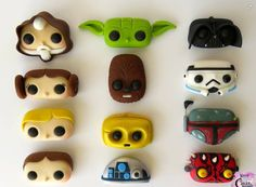 Star Wars cupcake toppers by Krazy Kool Cakes. Buuut ima use them as clay charms Star Wars Cupcake Toppers, Star Wars Cupcakes, Star Wars Cake, Fondant Toppers, Star Wars Gifts, Cake Fondant, Star Wars Party, Star Wars Birthday, Star Wars Cookies