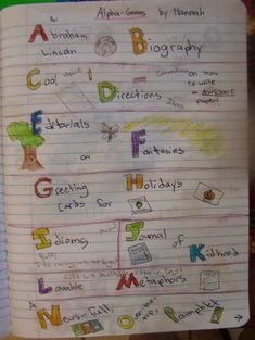 Always Write: Alpha-Genres and Topics...a writer's notebook lesson