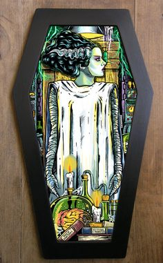 The Bride of Frankenstein coffin framed print. by bwanadevilart