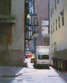 'Making a Left Turn' by Jennifer McChristian Oil ~ 14 x 11 Seascape Paintings, Landscape Paintings, Portrait Paintings, Acrylic Paintings, Oil Paintings, Urban Landscape, Abstract Landscape, Industrial Paintings, Urban Painting