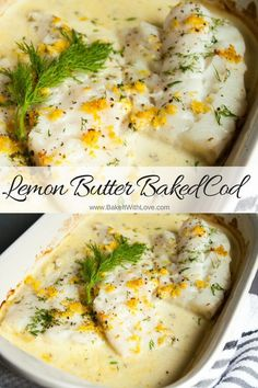 Our Lemon Butter Baked Cod is baked in a creamy lemon butter sauce that is a purely sinful delight! The light flakiness of a superb cod fillet is complimented perfectly with such a rich sauce. It literally is dripping in flavor! BakeItWithLove.com | #lemonbutter #bakedcod #codfish #seafood #dinner #whitefish