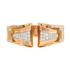 Retro rose gold and diamond bracelet with removable clips, France