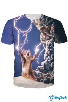 Lightning Cat Tee - Shop our entire collection of Cat Apparel! www.getonfleek.com