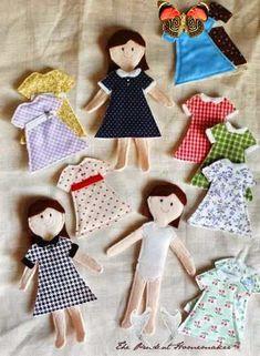 Tiny felt dolls tutorials<br> Sewing Patterns For Kids, Sewing For Kids, Crochet Patterns, Quiet Book Patterns, Handmade Christmas Presents, Dress Up Dolls, Doll Tutorial, Sewing Dolls, Crafts For Girls