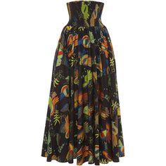 Stella Jean Mentalista Skirt (11,010 MXN) ❤ liked on Polyvore featuring skirts, print skirt, pattern skirt, mid-calf skirt, print skater skirt and midi skater skirt