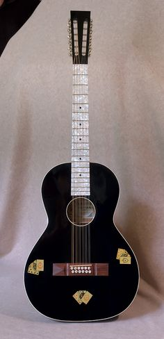 """Hauver Guitars """"The Gambler"""" 12 string Pearl. Adirondack (Red) Spruce top, mahogany sides and back. Don't particularly like this style head, but the concept is beautiful! Music Guitar, Cool Guitar, Playing Guitar, 12 String Guitar, Music Express, Guitar Building, Pedalboard, Gretsch, Custom Guitars"""