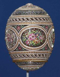 The 1914 Faberge Mosaic Egg, one of four Faberge eggs among the Royal Collection of Britain's Queen Elizabeth ll, is pictured in London November 20, 2003. Reuters/Kirsty Wigglesworth/Pool