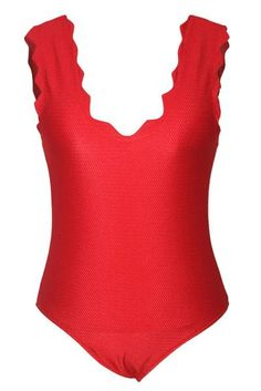 dfb5c3bcf7987 Scalloped V Neck Low Back Red One Piece Bathing Suits