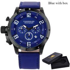 2016 TIGERSHARK popular brand Men watches chronograph sport fashion Arabic number date quartz clock black leather wristwatches