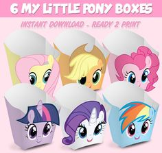 6 Popcorn Box My Little Pony  popcorn box My Little by Migueluche