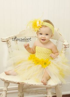 COMBO - Lil' Daisy Tutu dress and Matching Over the Top hair bow. $35.99, via Etsy.