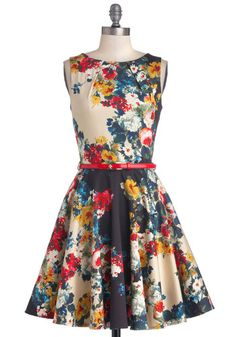 Luck Be a Lady Dress in Garden - Floral, Belted, A-line, Sleeveless, Better, Boat, Mid-length, Cotton, Woven, Party, Multi, Exposed zipper, ...