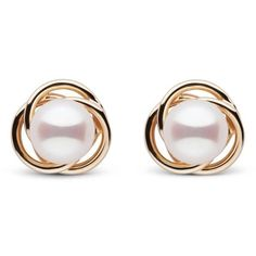 Trilogy Collection White Akoya Pearl Earrings (€140) ❤ liked on Polyvore featuring jewelry, earrings, 14k earrings, 14 karat gold jewelry, pearl earrings, 14 karat gold earrings and circle jewelry