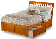Orleans Bed with Flat Panel Foot Board and 2 Urban Bed Drawers Queen Caramel Latte >>> Click image for more details.