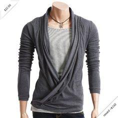 Doublju Mens Casual Cardigan Style Tshirts GRAY(WCT) Asian M