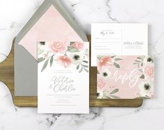 Blush floral wedding invitation, pink and gray wedding invitation by DevonDesignCo via Etsy