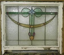 "VICTORIAN ENGLISH LEADED STAINED GLASS  SASH WINDOW Gorgeous Drop 25.5"" x 20"""