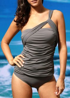 One Shoulder Top and Grey Panty Swimwear on sale only US$27.70 now, buy cheap One Shoulder Top and Grey Panty Swimwear at liligal.com