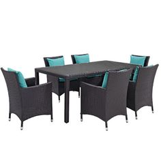 Ryele 7 Piece Outdoor Patio Dining Set with Cushions Cushion Color: Espresso Turquoise - http://diningsetspot.com/ryele-7-piece-outdoor-patio-dining-set-with-cushions-cushion-color-espresso-turquoise-725490704/