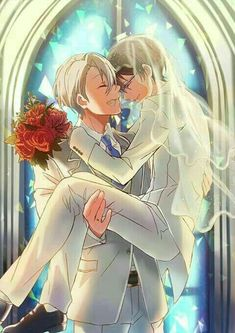 Victor y Yuri // Yuri on Ice Hot Anime, All Out Anime, Anime Guys, Manga Anime, Anime Art, Love On Ice, ユーリ!!! On Ice, Fanarts Anime, Anime Characters