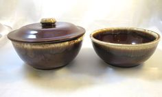 Vintage Brown Drip Bowls w/ 1 Lid Stackable Oven to Table MidCentury Modern Marked Kathy Kale Watt Pottery Brown Ovenware Bowl Set