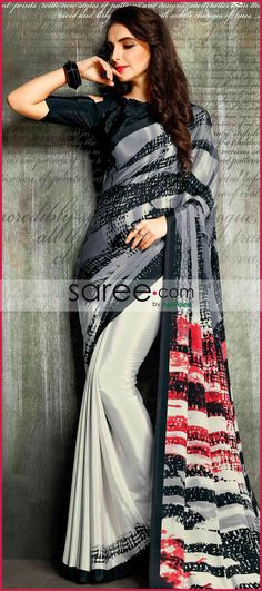 Grey and White digital print saree Laxmipati Sarees, Crepe Saree, Saree Dress, Printed Sarees, Wedding Wear, Crepes, Grey And White, Desi, Chiffon